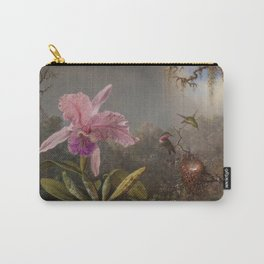 Cattelya Orchid And Three Brazilian Hummingbirds 1 By Martin Johnson Heade   Reproduction Carry-All Pouch