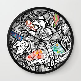 pink panther in octopus garden. Wall Clock