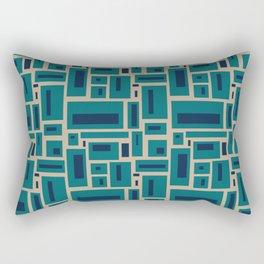 Geometric Rectangles in Navy, Teal and Tan 2 Rectangular Pillow