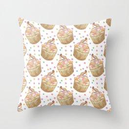 Watercolor cupcakes Throw Pillow