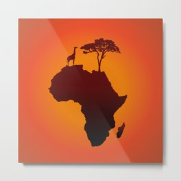 African Safari Map Silhouette Background Metal Print