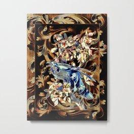 Acanthus Crow Blue On Brown Metal Print