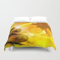fitness Duvet Covers featuring Fall meditation  by UtArt