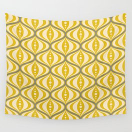 Retro Mid-Century Saucer Pattern in Yellow, Gray, Cream Wall Tapestry