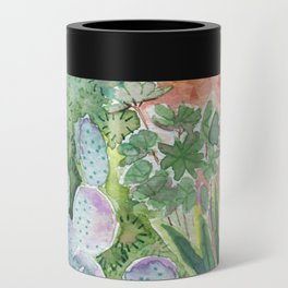 Cactus at Night Watercolor Can Cooler
