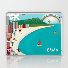 Oahu, Hawaii - Skyline Illustration by Loose Petals Laptop & iPad Skin