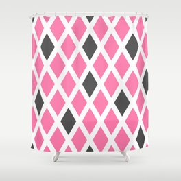 Pink and Gray Diamonds Shower Curtain