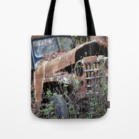 jeep Tote Bags featuring Vintage Jeep by Victoria Rushie
