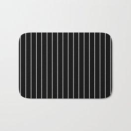 Classic White Baseball Stripe Lines On Black Bath Mat