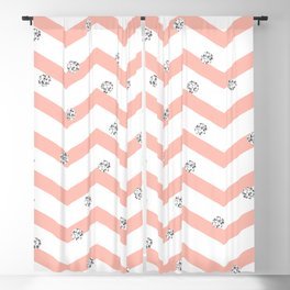 Geometrical coral white silver glitter polka dots Blackout Curtain