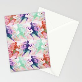Watercolor women runner pattern with red mint and dark purple Stationery Cards