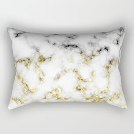 Black and white marble gold sparkle flakes Rectangular Pillow