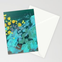 golden wattle oil painting Stationery Cards