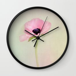 Fine Art Pink Pastel Flower Photography, Nature Wall Clock