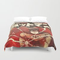 manga Duvet Covers featuring Bat Man (Manga) by Fernando Vieira