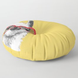 Fashion Hipster Llama with Glasses Floor Pillow