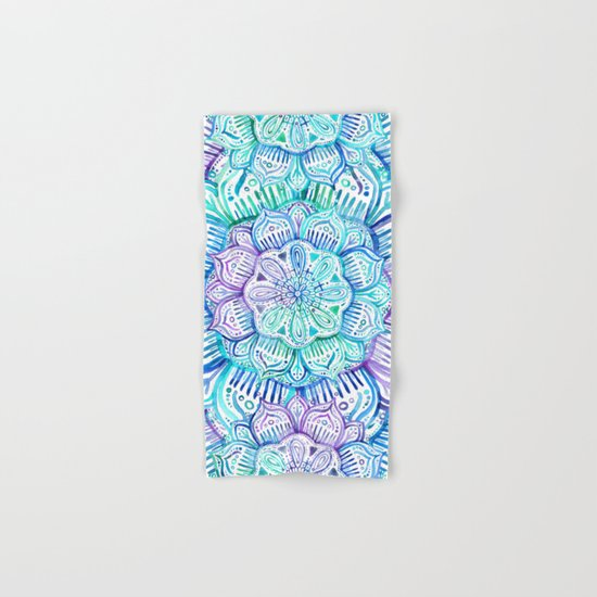 Iridescent Aqua and Purple Watercolor Mandala Hand & Bath Towel