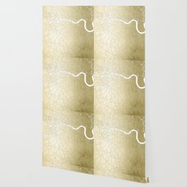 Gold on White London Street Map II Wallpaper