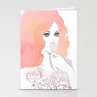 fashion illustration Stationery Cards featuring fashion illustration by Yulia Puchko