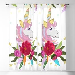 Magical unicorn pattern with colorful roses pattern Blackout Curtain