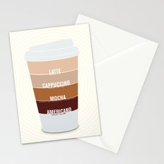 four shades of coffee + ingredients Stationery Cards