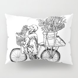 Bicycle Flower Seller in Hanoi in Pencil Pillow Sham