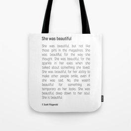 She Was Beautiful By F. Scott Fitzgerald 2 #minimalism #poem Tote Bag