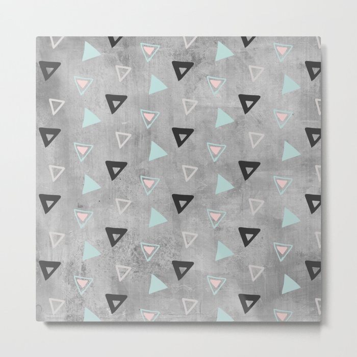 60s -Black abstract triangle pattern on concrete -Mix&Match with Simplicty of life Metal Print