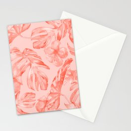 Tropical Dream Palm Leaves Deep Pink Stationery Cards
