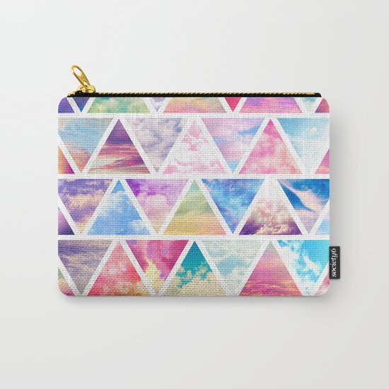 Pink Clouds Teal Sky Abstract Triangles Pattern Carry-All Pouch