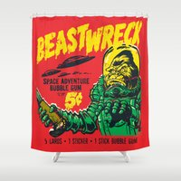 50s Shower Curtains featuring BEASTWRECK ATTACKS! by BeastWreck