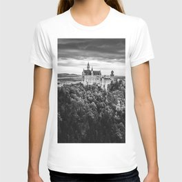 The Castle on the Mountain (Black and White) T-shirt