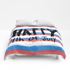 Happy 4th of July - hand lettered / red white and blue stripes Comforters