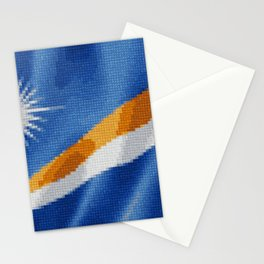 Marshall Islands Flag Raw Feathered Fabric Origin Expansion Stationery Cards