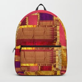 """Exotic fabric, ethnic and bohemian style, patches"" Backpack"