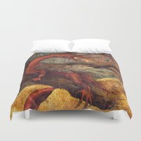 smaug Duvet Covers featuring Dragons Lair by Angela Rizza