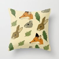 woodland Throw Pillows featuring woodland by Melrose Illustrations