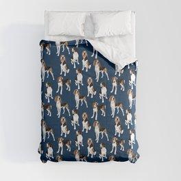 Treeing Walker Coonhounds on Navy Comforters