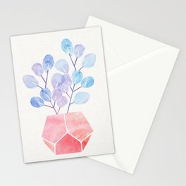 Blue Eucalyptus With Pink Terra Cotta Stationery Cards