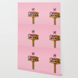 Atomic Pink Starburst - Vintage Googie-Style Sign with Pink Background Wallpaper