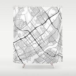 Laval Map, Canada - Black and White Shower Curtain