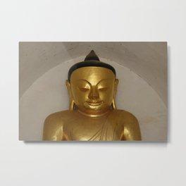 Buddha Head Golden Statue - Myanmar Bagan Metal Print