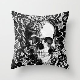 Rose skull on black lace base. Throw Pillow