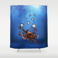 octopus Shower Curtains featuring Octopus by Anna Shell