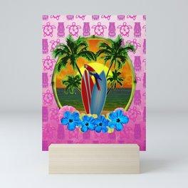 Tropical Sunset Pink Tiki Mask Mini Art Print