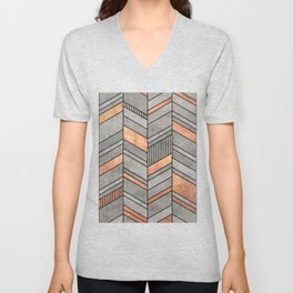 Abstract Chevron Pattern - Concrete and Copper Unisex V-Neck