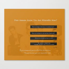 The Smiths Lyrics Heaven Knows I'm Miserable Now Canvas Print