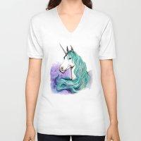 unicorn V-neck T-shirts featuring Unicorn by Pendientera