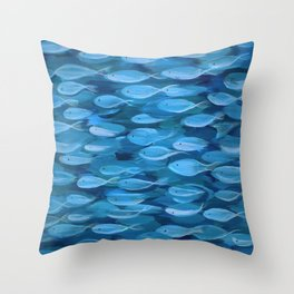 Shimmer Shoal in Blue Throw Pillow