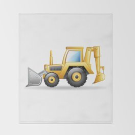 Yellow Excavating Tractor Icon Throw Blanket